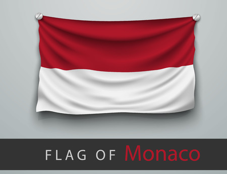 battered: FLAG OF monaco battered, hung on the wall, screwed screws
