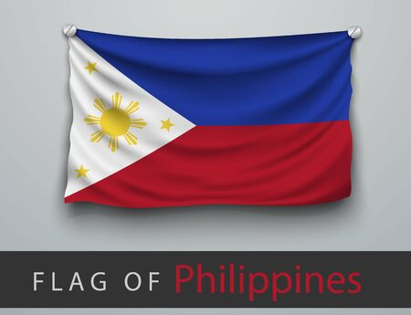 battered: FLAG OF Philippines battered, hung on the wall, screwed screws
