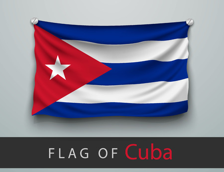 screwed: FLAG OF cuba battered, hung on the wall, screwed screws Illustration