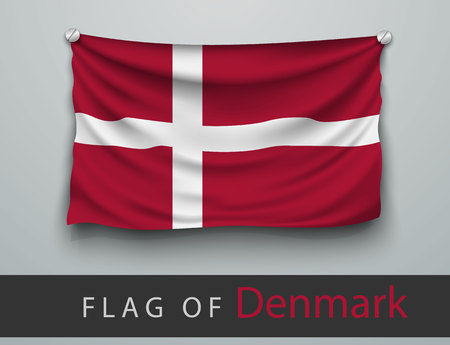 battered: FLAG OF denmark battered, hung on the wall, screwed screws