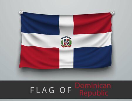 screwed: FLAG OF Dominican Republic battered, hung on the wall, screwed screws Illustration