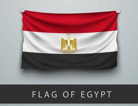 bandera de egipto: Bandera de Egipto golpeada, colgada en la pared, atornillado tornillos Vectores