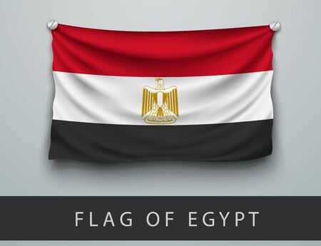 egypt flag: FLAG OF EGYPT battered, hung on the wall, screwed screws