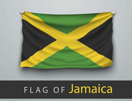 screwed: FLAG OF jamaica battered, hung on the wall, screwed screws Illustration