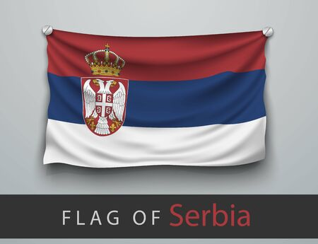 screwed: FLAG OF serbia battered, hung on the wall, screwed screws