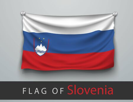 wallpaper  eps 10: FLAG OF slovenia battered, hung on the wall, screwed screws