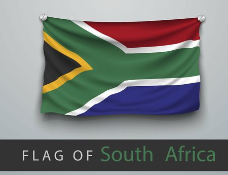 screwed: FLAG OF SOUTH AFRICA battered, hung on the wall, screwed screws