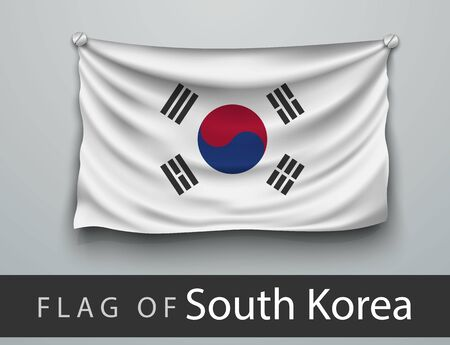 battered: FLAG OF South Korea battered, hung on the wall, screwed screws