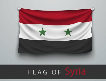screwed: FLAG OF syria battered, hung on the wall, screwed screws