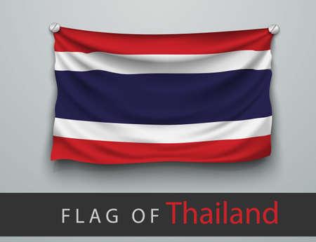 seta thailandese: Bandiera della Thailandia martoriata, appesa al muro, viti avvitate