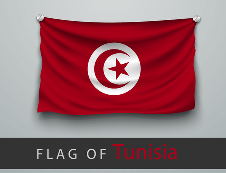screwed: FLAG OF tunisia battered, hung on the wall, screwed screws
