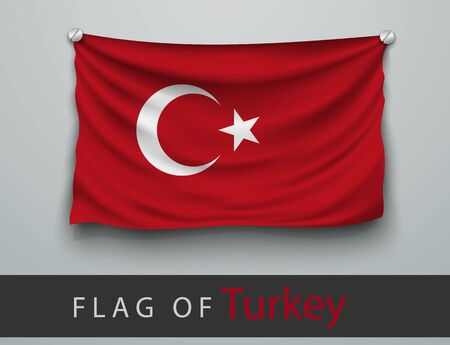 turkey: FLAG OF turkey battered, hung on the wall, screwed screws Illustration