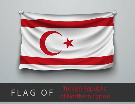 screwed: FLAG OF Turkish Republic  battered, hung on the wall, screwed screws Illustration