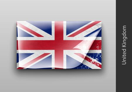 tattered: flag of UK with the tattered masking tape Illustration