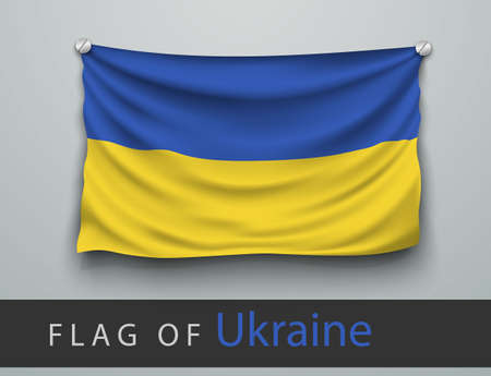 screwed: FLAG OF ukraine battered, hung on the wall, screwed screws
