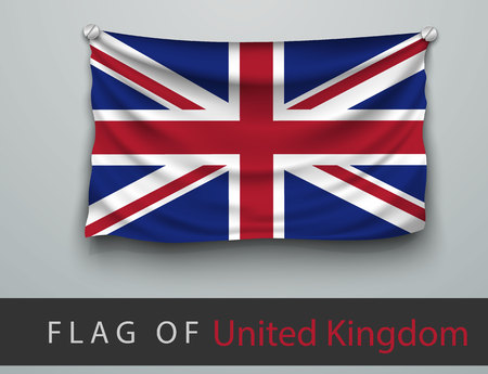 screwed: FLAG OF united kingdom battered, hung on the wall, screwed screws Illustration