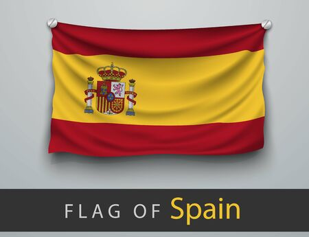 screwed: FLAG OF spain  battered, hung on the wall, screwed screws Illustration