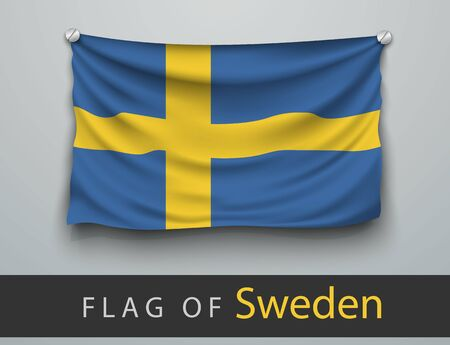 battered: FLAG OF sweden union battered, hung on the wall, screwed screw