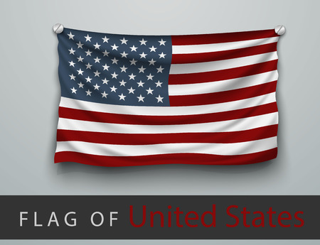 hung: FLAG OF USA battered, hung on the wall, screwed screws Illustration