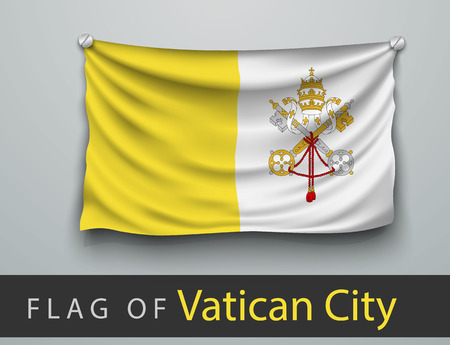 vatican city: FLAG OF vatican city battered, hung on the wall, screwed screws