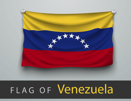 hung: FLAG OF Venezuela battered, hung on the wall, screwed screws Illustration