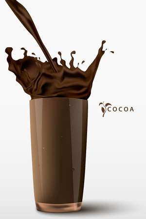 cocoa: pouring cocoa drink with a splash into a glass