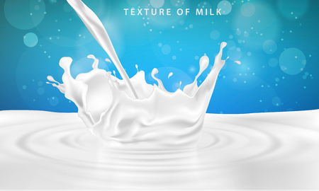 pouring milk drink splashing into milk on a blue background 向量圖像
