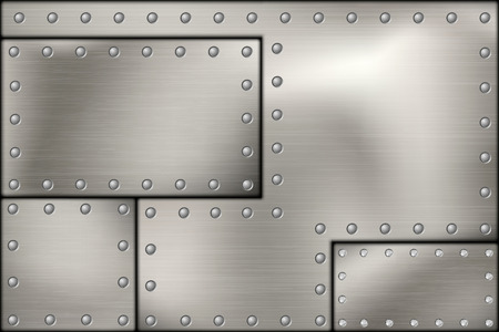 shiny metal: riveted steel rivets and screws metal background Illustration