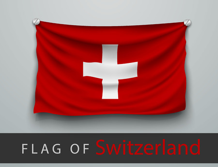 battered: FLAG OF Switzerland battered, hung on the wall, screwed screws
