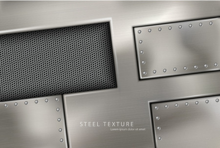 riveted: riveted steel rivets and screws metal background Illustration