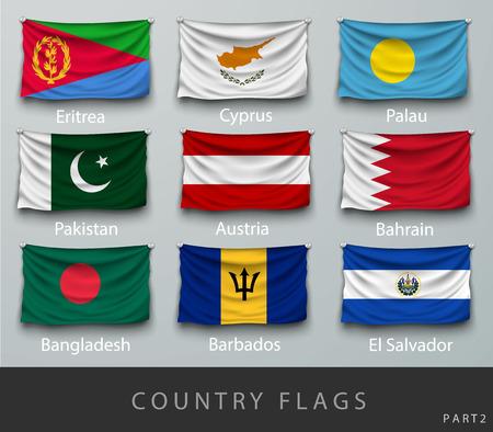 banderas del mundo: Remachado la bandera del país arrugó con sombras y tornillos Vectores