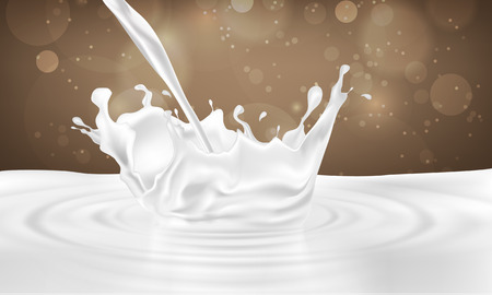 pouring milk drink splashing into milk on a chocolate background Vectores