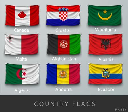 Riveté le drapeau du pays froissé avec les ombres et les vis Banque d'images - 45709150