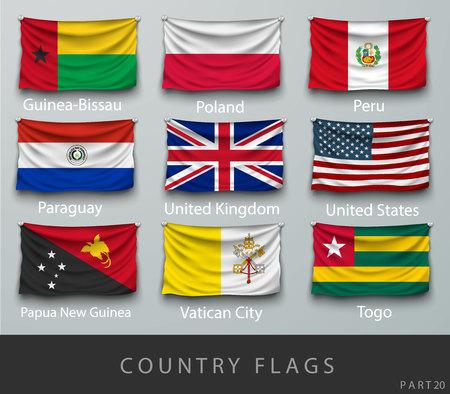 bandera: Remachado la bandera del país arrugó con sombras y tornillos Vectores