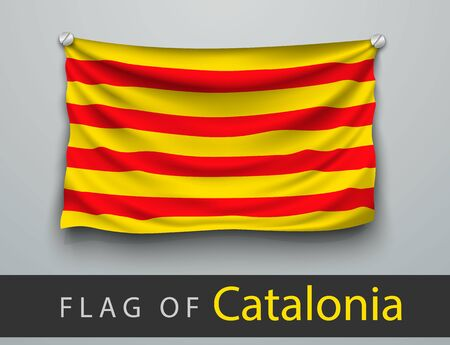 battered: FLAG OF catalonia battered, hung on the wall, screwed screws