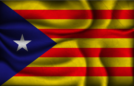 arms trade: crumpled flag of catalonia  on a light background