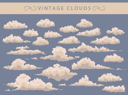 white clouds: set of vintage white clouds on a blue background