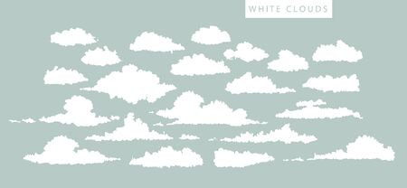 cumulus: set of white clouds on a blue background
