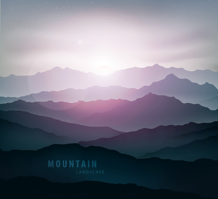 dark blue mountain landscape with fog and a sunrise and sunset Vectores