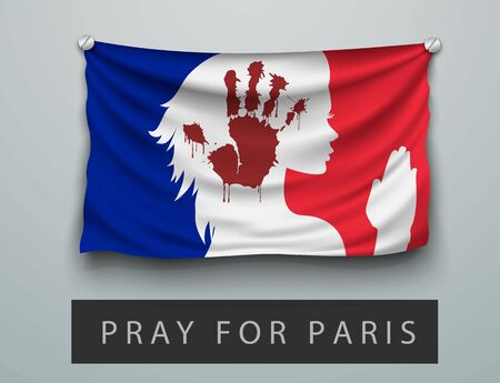 pray for: Pray for Paris terrorism attack, flag with a bloody and praying woman