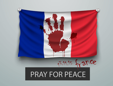 shootings: Pray for Paris terrorism attack, flag with a bloody hand