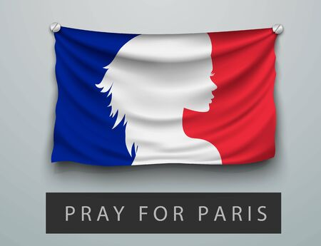 shootings: Pray for Paris terrorism attack, flag with a bloody and praying woman