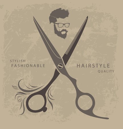 Set of Barber Shop design elements with bearded man