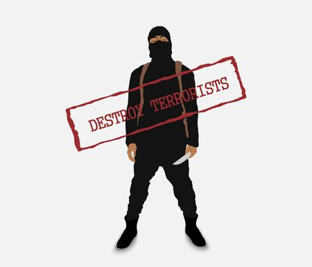 terrorists: terrorist with a knife in uniform with the inscription destroy terrorists