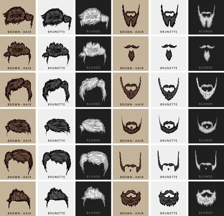 peluquero: vector conjunto de cortes de pelo y la barba de tres colores - marr�n, rubia, morena
