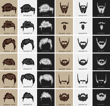 barber background: vector set of hairstyles and beards with three colors - brown, blond, brunette