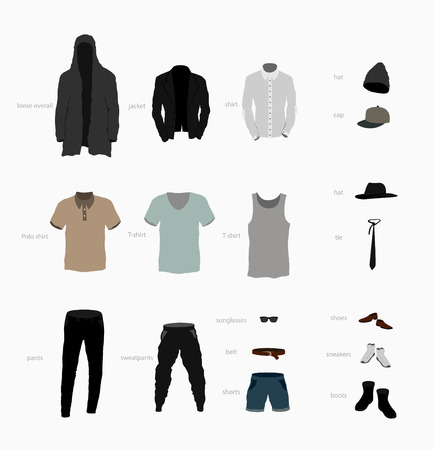 undergarment: big set of clothes top, bottom, shoes and accessories Illustration