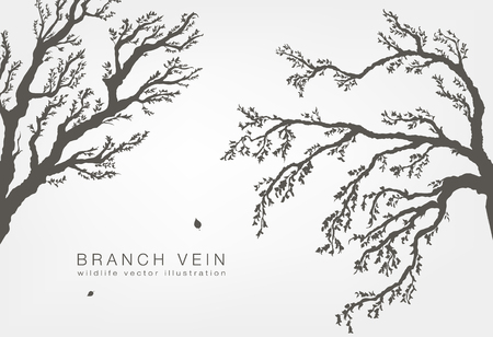 vigorous: tree branches with leaves and wood on a white background Illustration