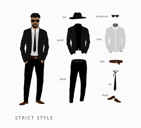 menswear: set strict style of menswear. Glasses with a hat, pants with a shirt and tie with a belt and shoes
