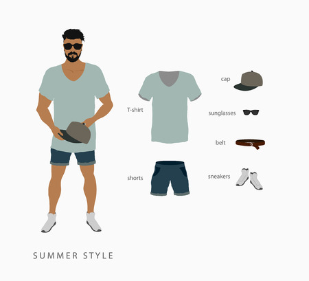 mens clothing: set menswear summer style. Points with a cap, T-shirt with shorts and sneakers with a belt